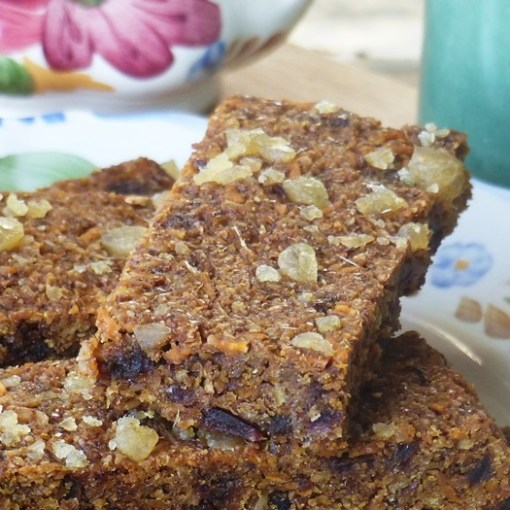 Ginger Parkin Gluten-free dairy-free sugar-free flapjack. A linseed Flaxjack