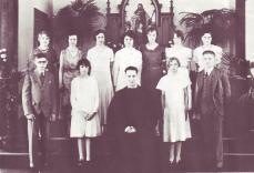 1932 1st row: Glenn Sund, Roberta Westfall, Rev Pinkall, Irene Johnson, Donald Johnson 2nd row: Dorothy Lucken, Frances Jenkins, Rosa Johns, Marguerite Curtis, Ellen Jorgensen, Edna Jane Blacketer, Ruth Barnes