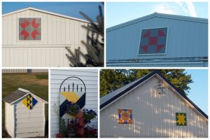 Nancy paints barn quilts which are hung on her barns and given to friends.