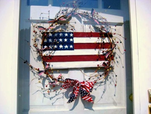 A patriotic door wreath, made by Nell