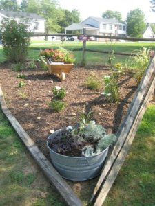 Split rail fence garden, corner to corner