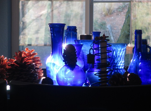 Vintage cobalt glass collection