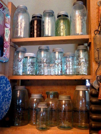 """Some of my favorite Mason Jars. A little bit dusty though. Julie laughs"""