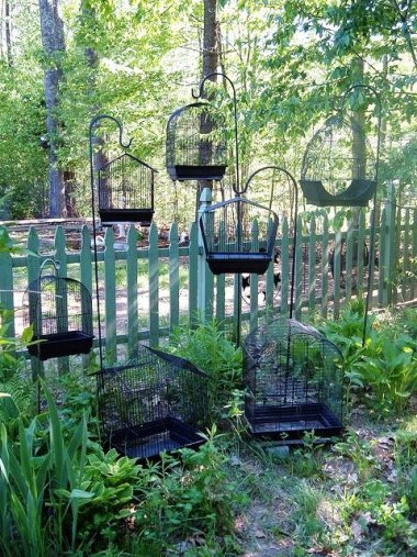 "Black birdcages in a grouping. ""The more, the merrier."""