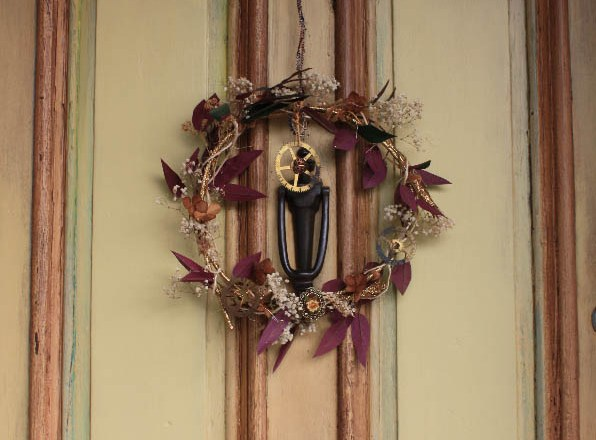 Clock and Gear Wreath