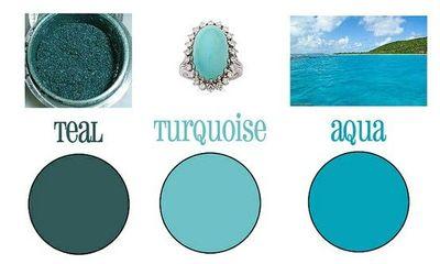 Teal, aqua & turquoise