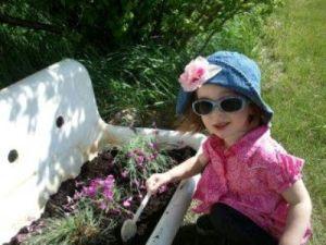 Bella and her sink garden