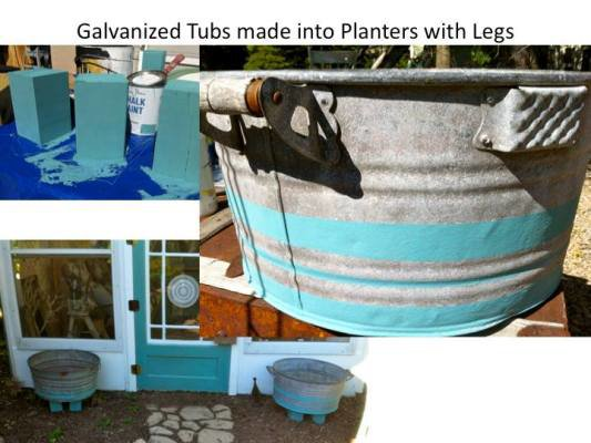 Ann's plan for containers include tubs on feet!
