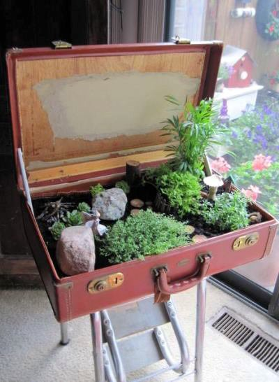 Jeanie's suitcase fairy garden, begun with soil and rocks for boulders