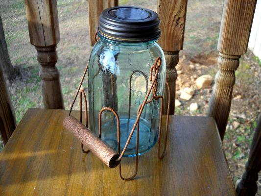 Patty Stewart found a vintage wooden handle for her Mason jar.