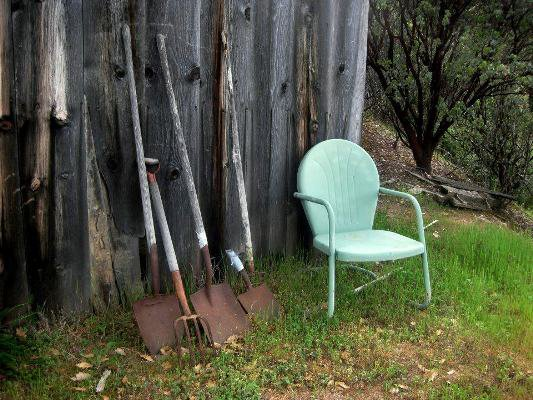 My Grandma's chair and Grandpa's handle tools...by the old goat shed