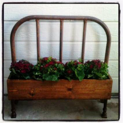 Shannon Smit made this planter out of an old bed headboard
