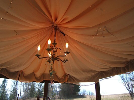 The gazebo ceiling inside