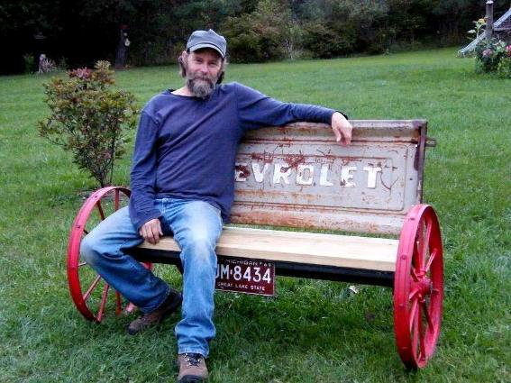 Here Is My Friend And Maker Of This Wagon Wheel Tailgate