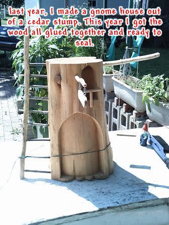 Make A Cute Gnome Home From A Log Flea Market Gardening