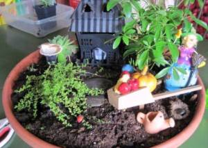 Fairy garden miniatures are easy to find at 'After Christmas' sales.