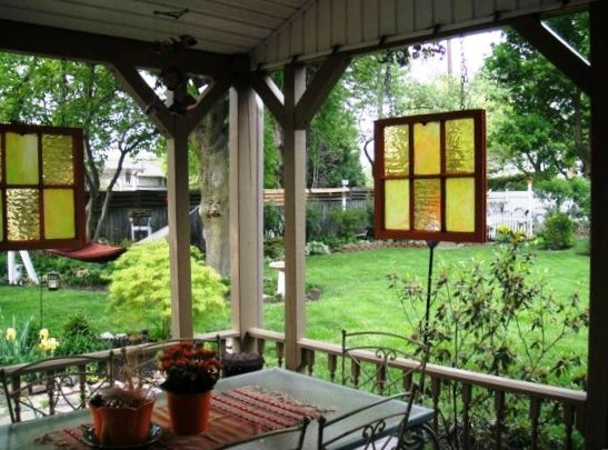 Debbie Bond's porch room with recycled windows