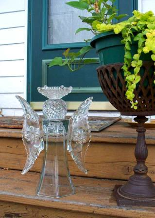 Sue Gerdes, Of Flea2Fab Says Her Garden Angel Is Made From A Glass Bottle On