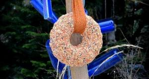 Seed wreath bird feeder