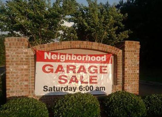 Neighborhood garage sale sign