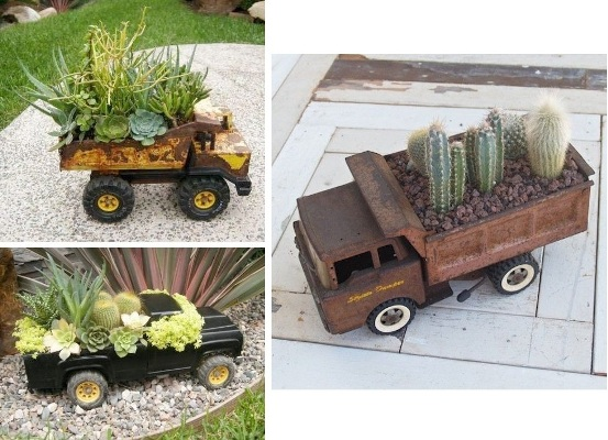 Collage of garden truck containers, filled with succulents