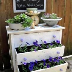 Wrought Iron Kitchen Table Garbage Cans Dressed Up Dressers In The Garden | Flea Market Gardening