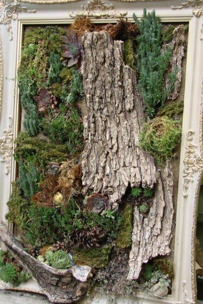 Jeanne Sammons saw this framed 'living art' on a garden walk