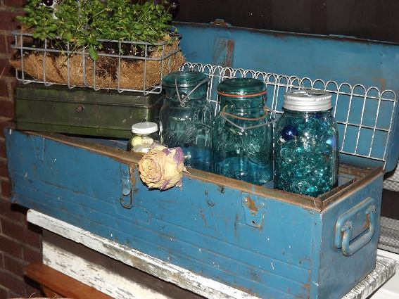 Julia Tomasic uses an old castoff tool box full of mason jars