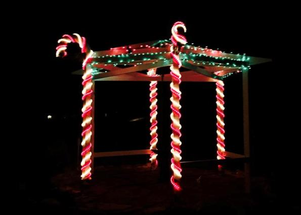 Here's the bird arbor at Christmas