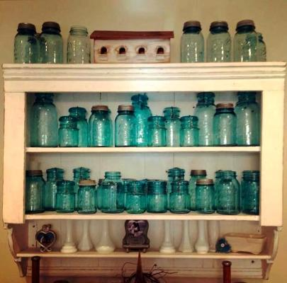 Dawn Weiss's vintage aqua mason jar collection