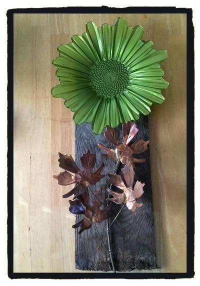 Margaret Seales barn wood dish flower
