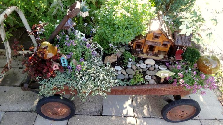 Jean Neuweg's fairy garden wagon