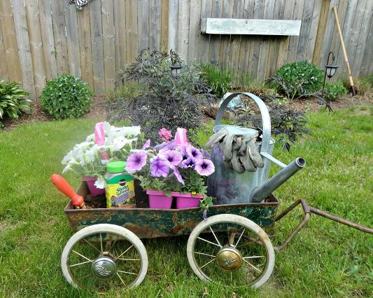 Linda Gladman‎'s practical use of her wagon is charming