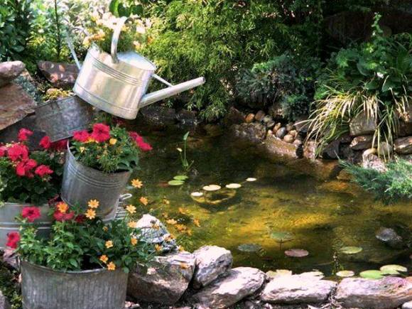 Dandi's pond is the centerpiece of her garden