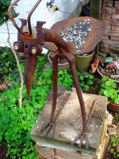 Sue Gerdes's clever bird feeder bird made from old tools