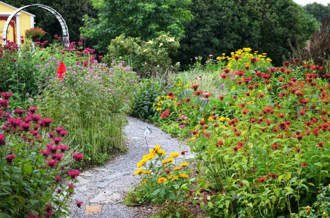 Paths that wind through Christy's garden are the key to her garden design