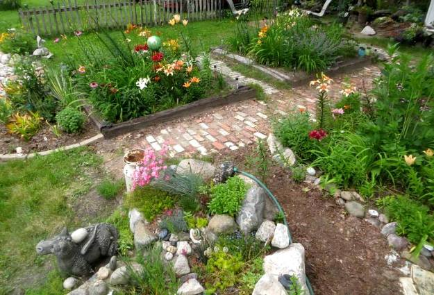 Theresa Jones's brick pathway garden