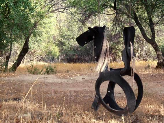 A horse made from a tire