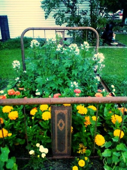 Shirley Boley's perfectly rusty bedframe garden
