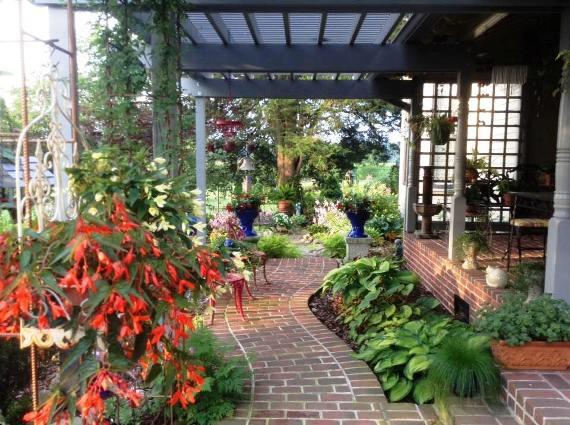 A shady porch garden