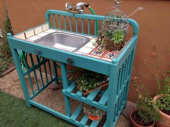 Baby changer to potting table,...with running water