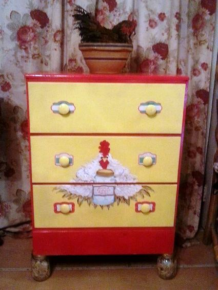Whimsical red and yellow hand-painted chest