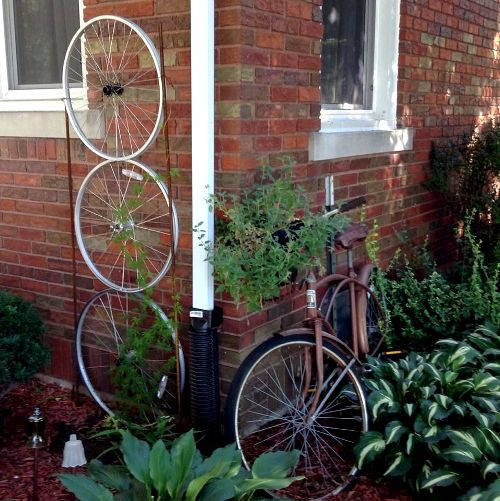 Nancy K. Meyer‎'s daughter's bike and trellis