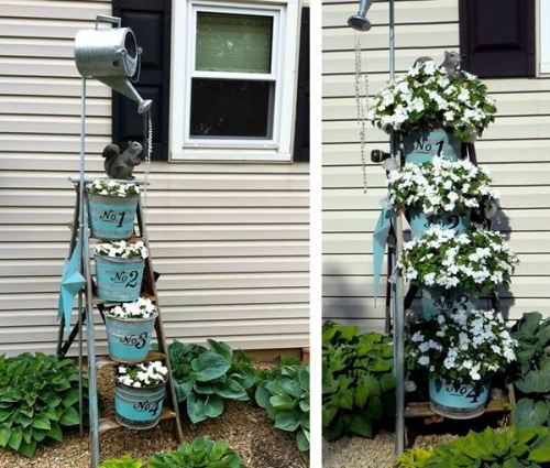 Ann Elias's ladder planter, before and after