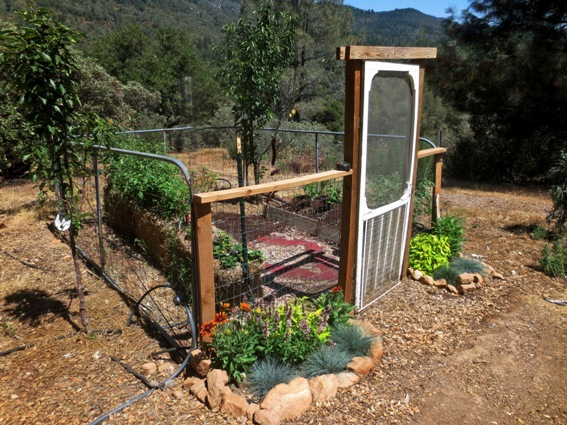 Sue Langley's ranch gate garden with a vintage screen door