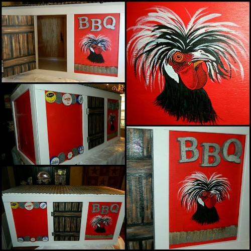 Dandi Gentry says, 'BBQ's chicken coop! I just added old jar lids for some added character.'