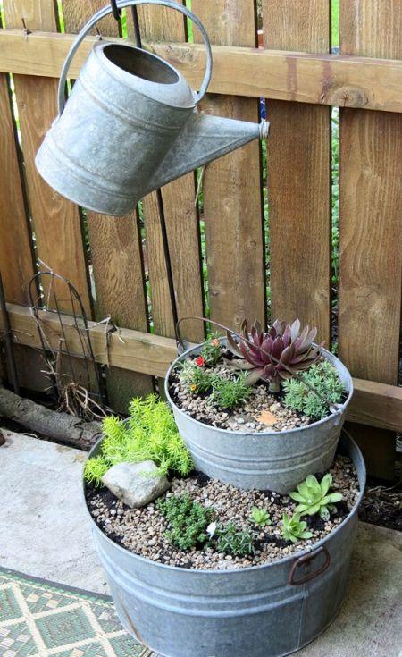 Jeanie Merritt's stack-a-pot succulent tubs