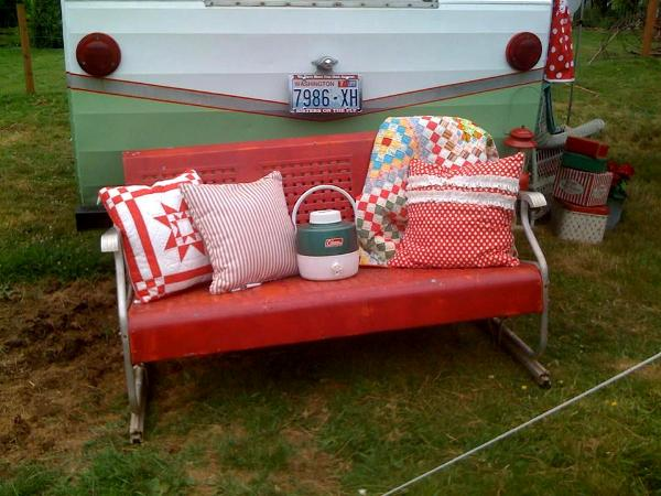Mindy Hill's Motl style glider adds zip to her vintage trailer vignette