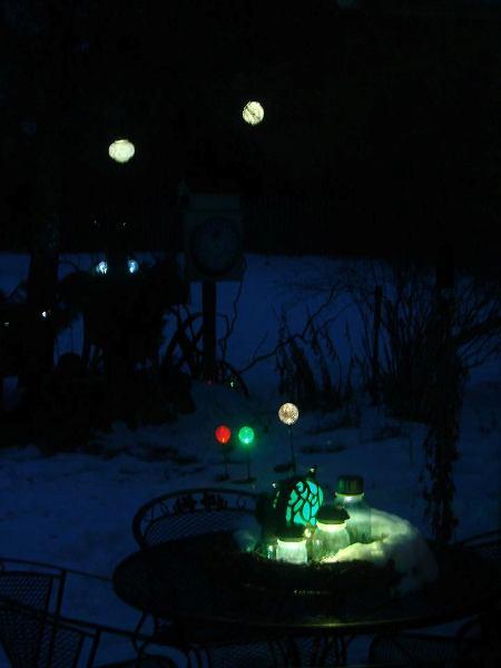 Jeanne Sammon's night garden with solor lighting