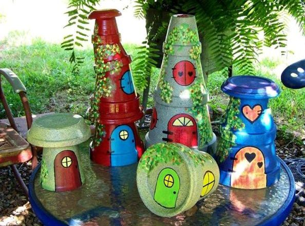 Sue Jordan's painted fairy house pots